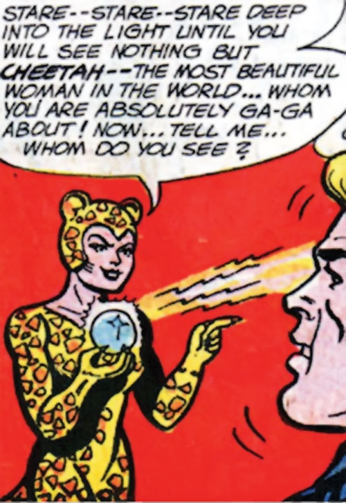 Cheetah (Wonder Woman enemy) (Golden Age DC Comics) of Earth-1 hypnotizing Steve Trevor