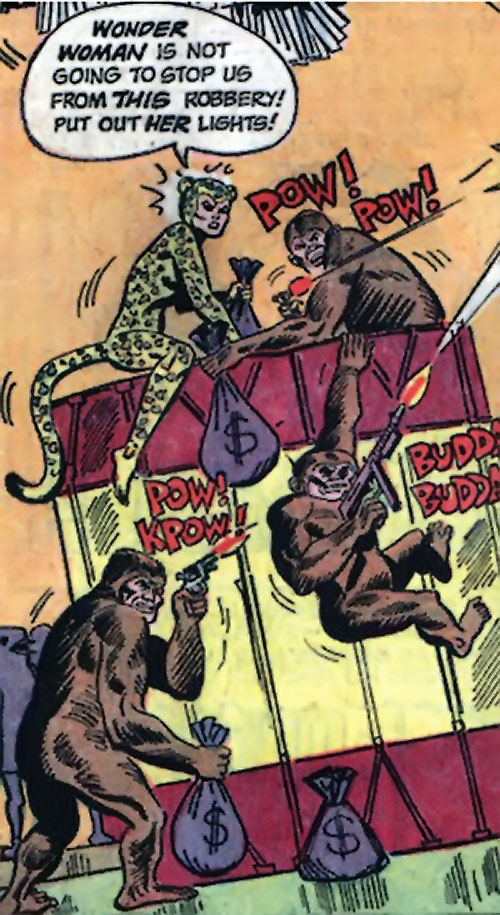 Cheetah (Wonder Woman enemy) (Golden Age DC Comics) of Earth-1 with her ape costume gunmen
