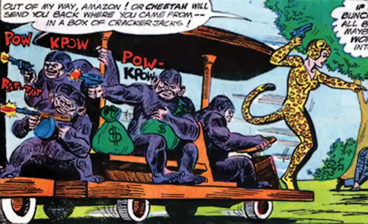 Cheetah and her henchmen drive away with the loot