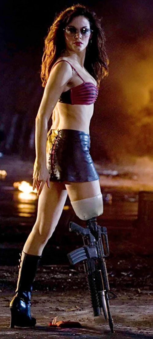 Cherry Darling (Rose McGowan in Planet Terror) with her gun leg