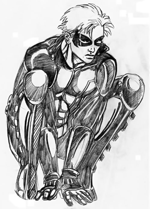 Cheshire Cat (DC Heroes RPG / Marvel Super-Heroes RPG) crouching, pencil art