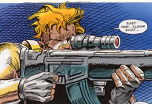 Childs of the British Super-Soldiers (Marvel UK) aiming a scoped rifle