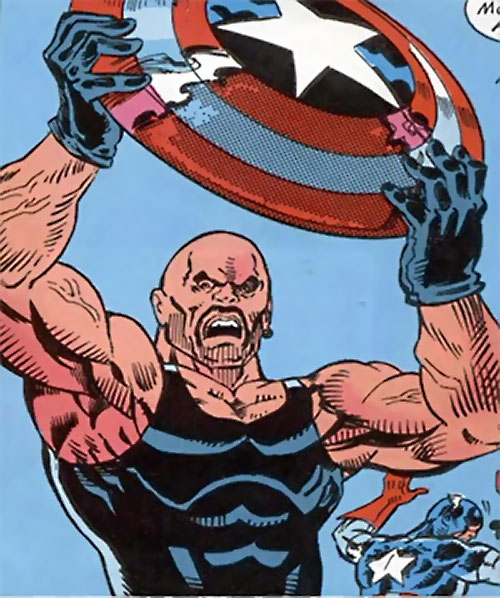 Chisel of the Wanderers (Nomad enemy) (Marvel Comics) brandishes Captain America's shield