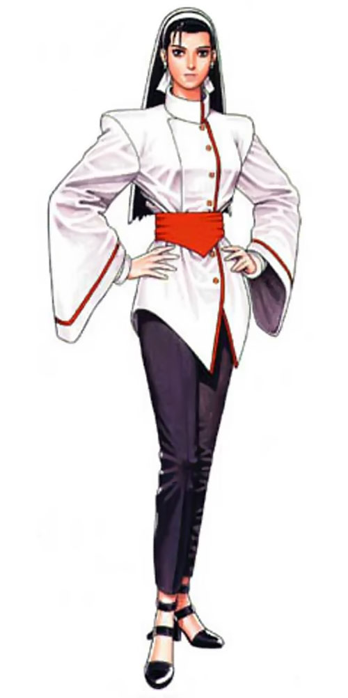 Chizuru Kagura from King of Fighter video games with hands on her hips