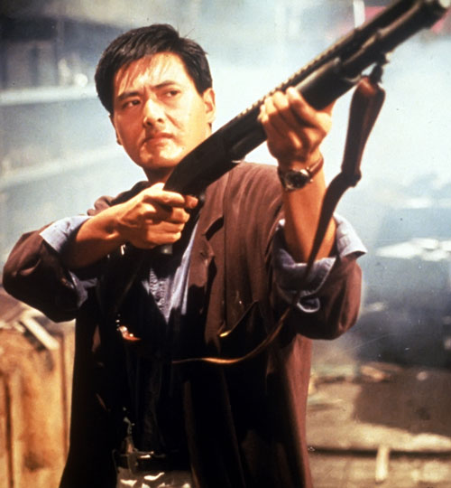 Chow Yun Fat with a shotgun in Hard Boiled