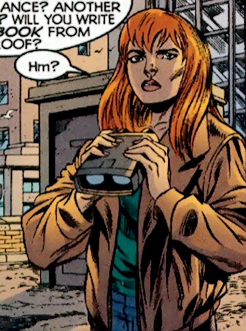 Christine St. Clair (Manhunter DC Comics) with binoculars