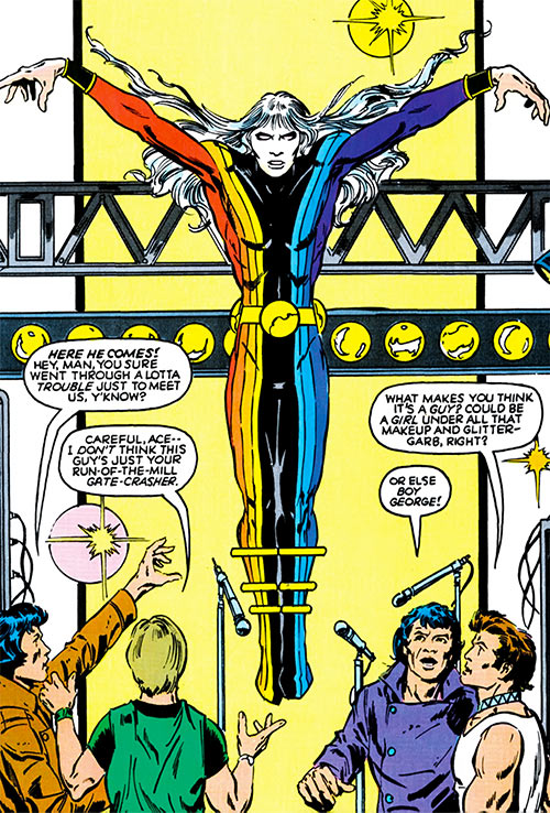 Chroma (Infinity, Inc enemy) (DC Comics) hovering