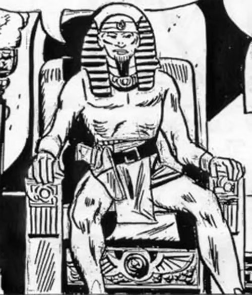 Chufru the Golden Pharaoh (Peacemaker enemy) (Charlton Comics) on a throne