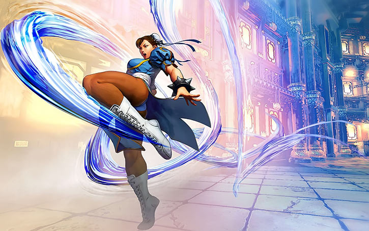 Chun Li kicks - Street Fighter 5 - Blue facade