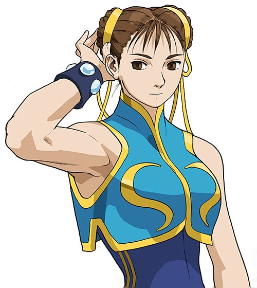 Chun Li from Street Fighter with a light blue top