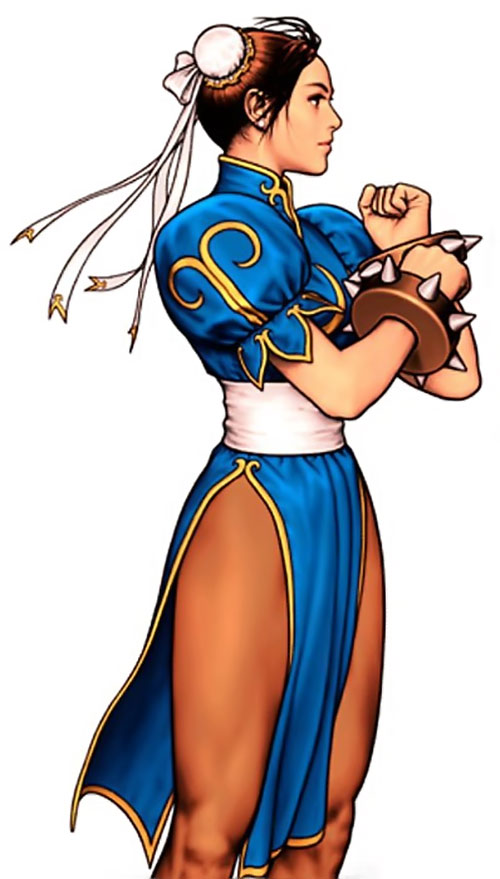 Chun Li from Street Fighter adjusting her huge bracers
