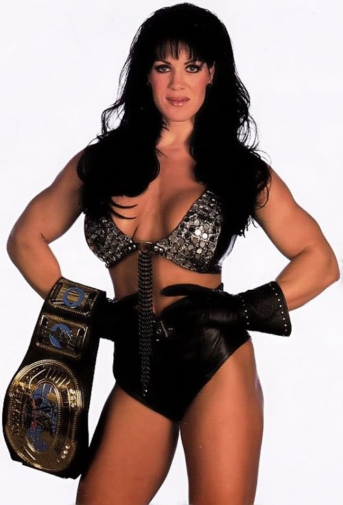 Chyna (wrestler) posing with a trophy belt
