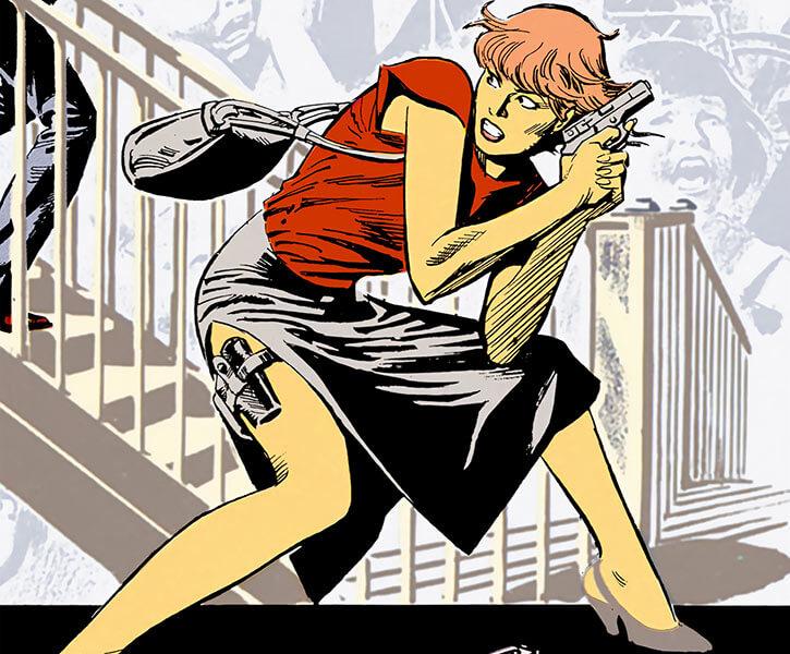 Cinder drawing her garter gun