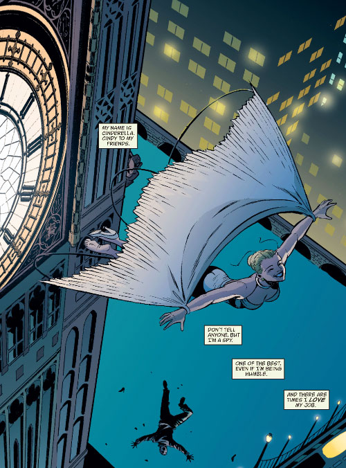 Cinderella of the Fables (DC Comics) flying with a magic cape