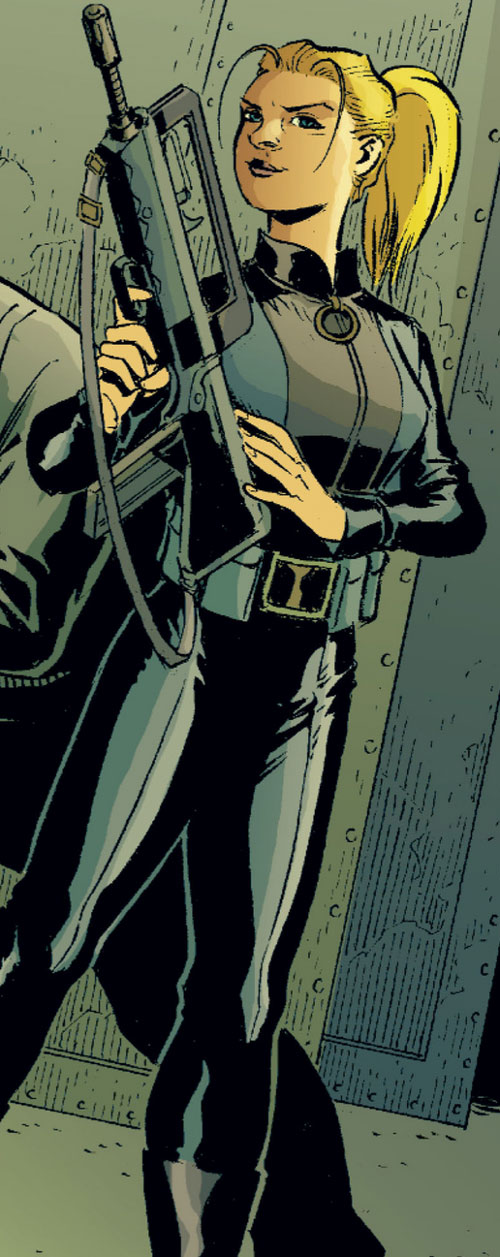 Cinderella of the Fables (DC Comics) in black leather with a FAMAS rifle