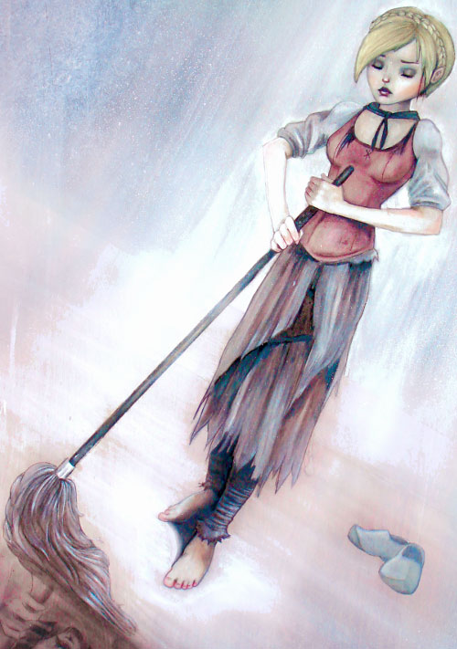 Cinderella of the Fables (DC Comics) mopping in rags