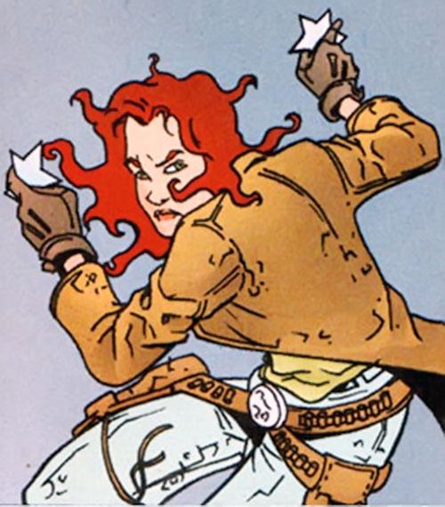 Cinnamon (Jen van Meter version) (DC Comics) with throwing stars