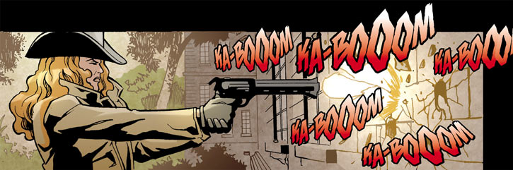 Cinnamon (DC Comics) (Checkmate) shooting a huge revolver