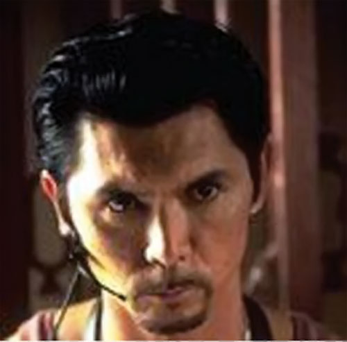 Cisco (Lou Diamond Philips in The Big Hit) angry face with radio headset