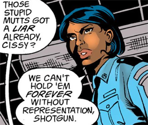 Deputy Cissy Chambers - Robin DC Comics - Face closeup black straight hair