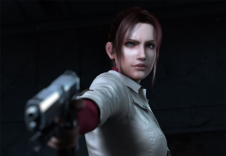 Claire Redfield aims her pistol in Resident Evil: Degeneration