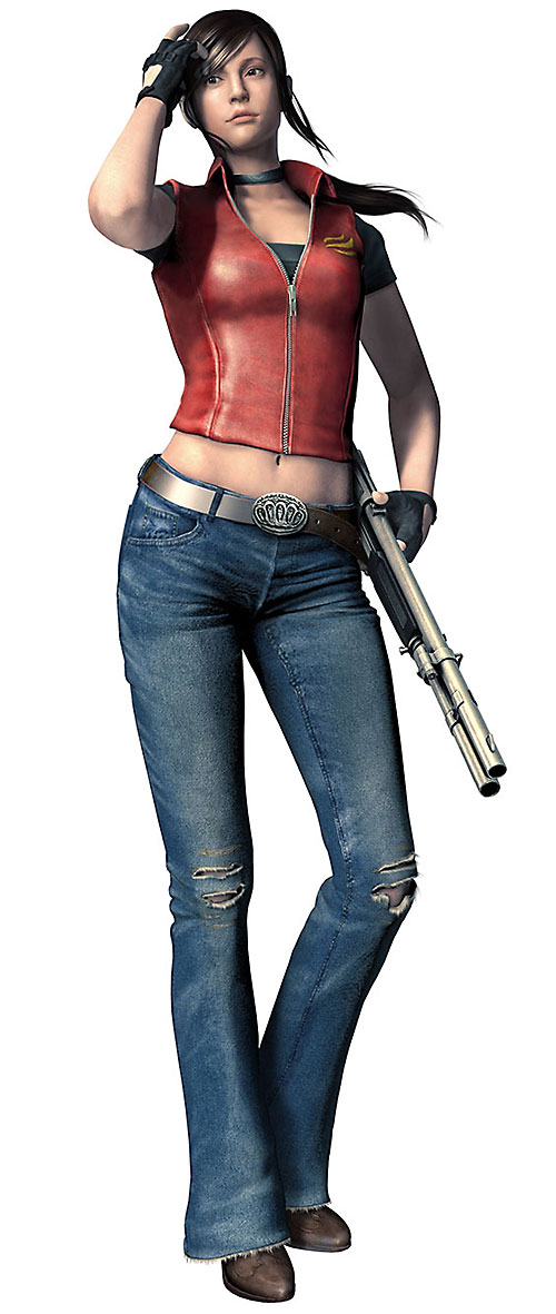 Claire Redfield (Resident Evil) in blue jeans and a red leather top