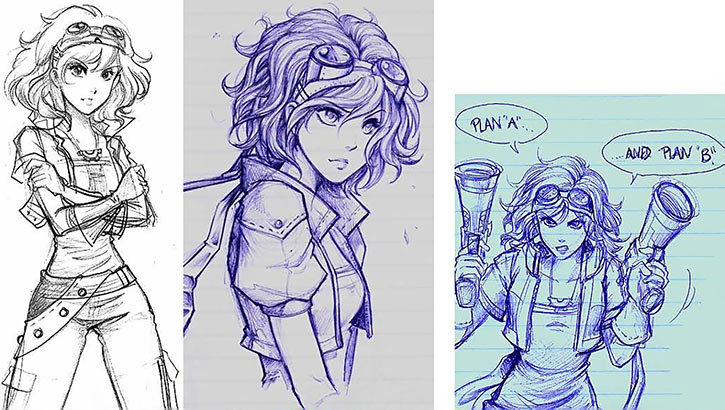 Concept sketches for Claret Spencer, the heroine of Skyborn