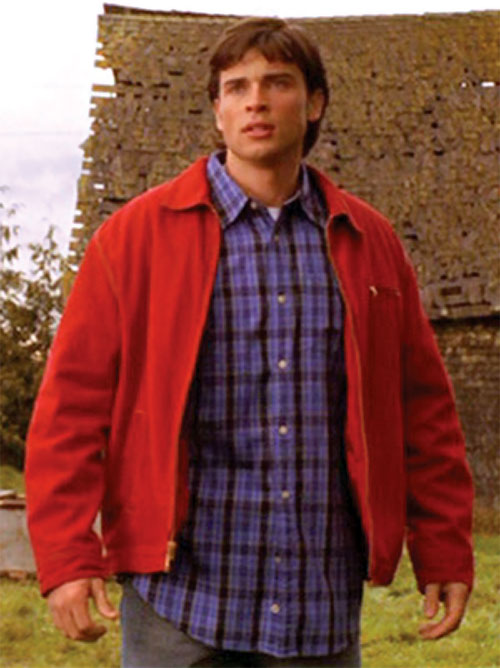 Clark Kent (Tom Welling in Smallville) with a blue shirt and red jacket