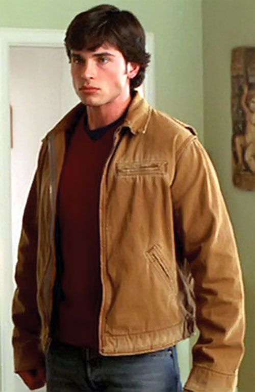Clark Kent (Tom Welling in Smallville) with a tan jacket