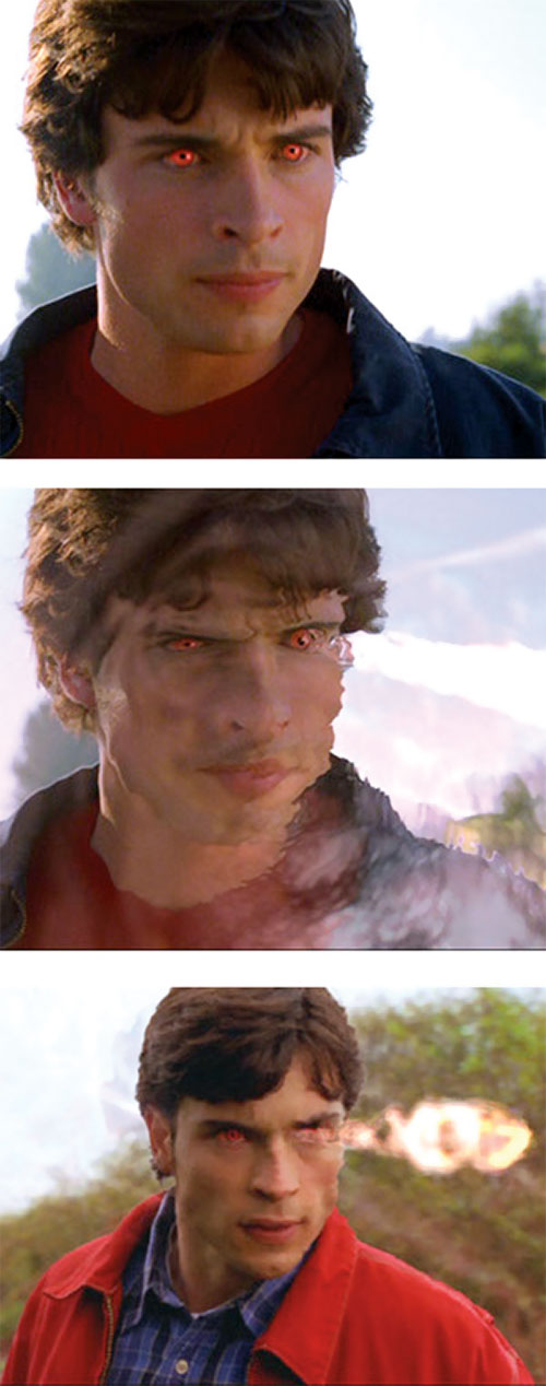 Clark Kent (Tom Welling in Smallville) using heat vision