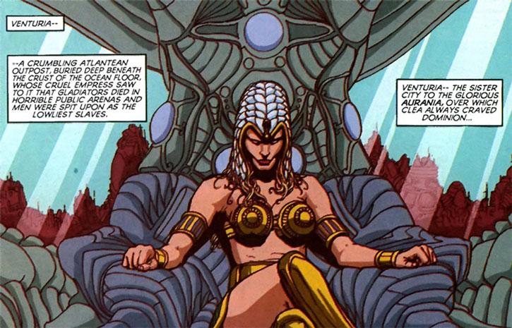 Queen Clea on her throne in Venturia