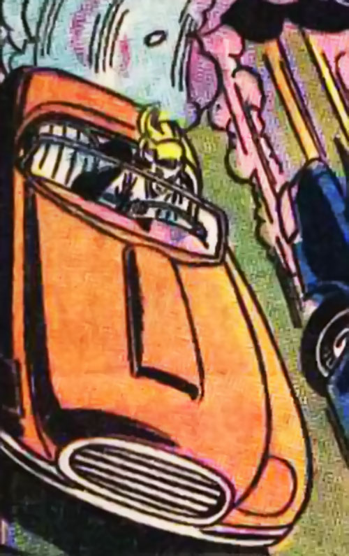 Cleo Starr (Batman character) (DC Comics) in her bright orange convertible