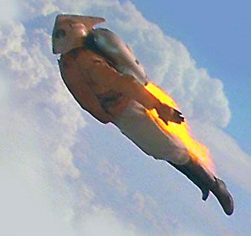 Rocketeer (movie version) in flight