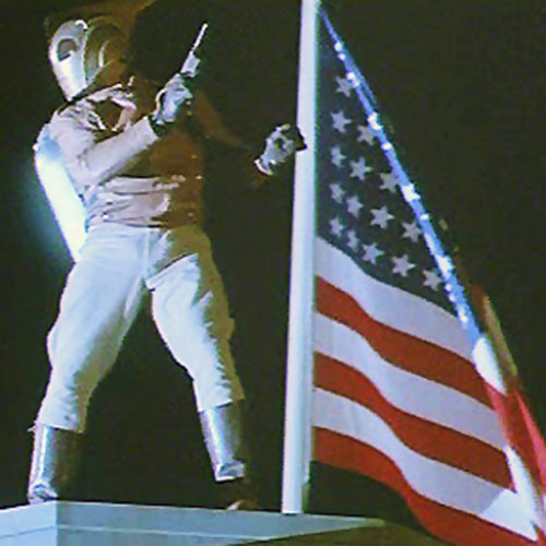 Rocketeer (movie version) and an American flag