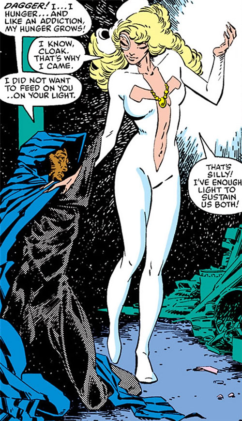 Dagger (Marvel Comics) (Cloak and Dagger) helping Cloak up