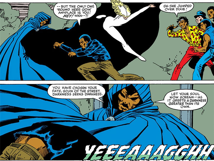 Cloak (Marvel Comics) (Cloak and Dagger) facing a street gang