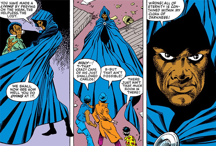 Cloak (Marvel Comics) (Cloak and Dagger) terrorizing street criminals