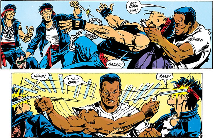 Clyde Rawlins (DC Comics) (Robin miniseries) vs. Ghost Dragons with a nunchaku