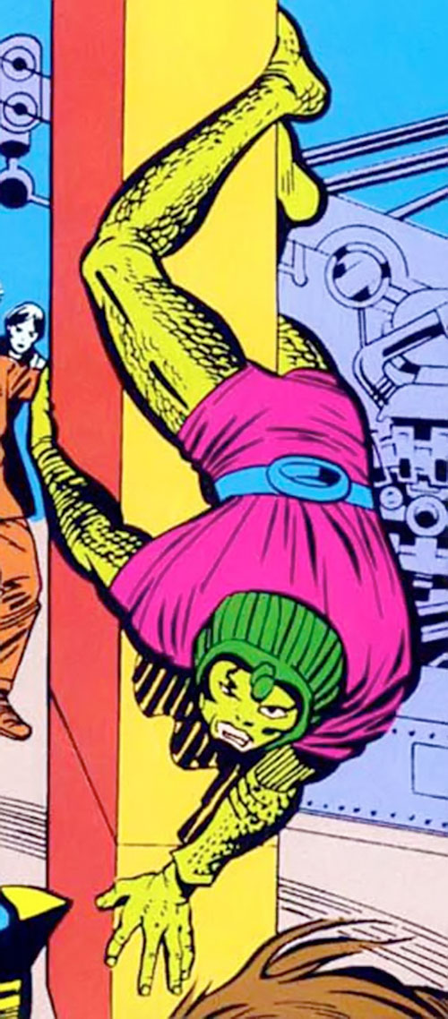 Cobra (Marvel Comics) upside down on a pillar