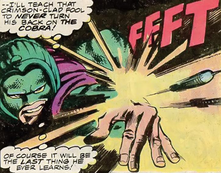 Cobra shoots darts from his wrist projectors