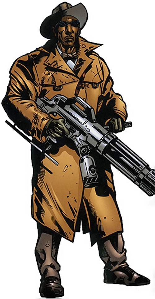 Cockroach Hamilton (Marvel Comics) (Luke Cage enemy) with a high-tech gun