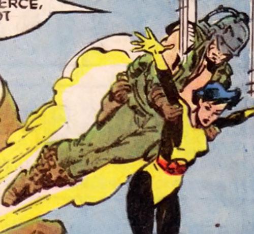 Cole (X-Men enemy) using a jetpack to grab Karma