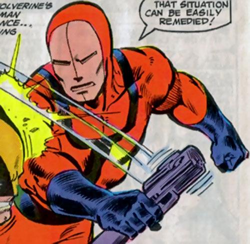 Cole as a Hellfire Club guard vs. Wolverine