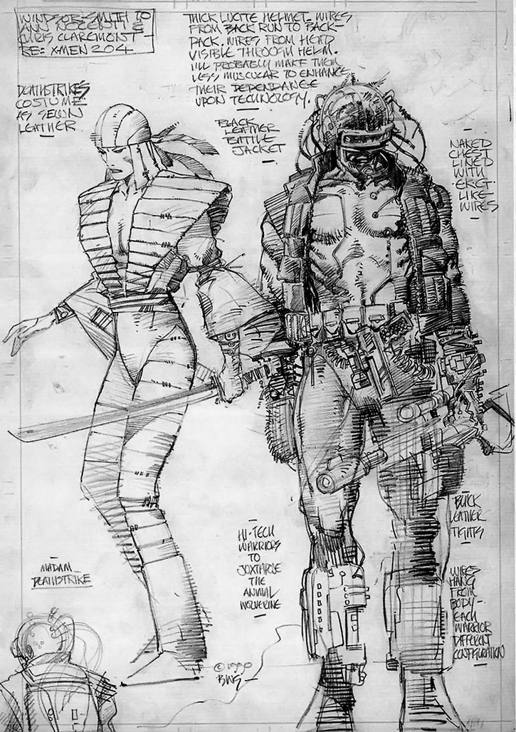 Character design sheet for Lady Deathstrike and a Reaver by Barry Windsor Smith