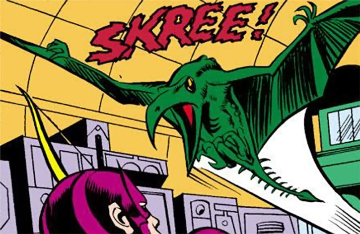 One of the Collector's alien pterodactyls attacks Hawkeye