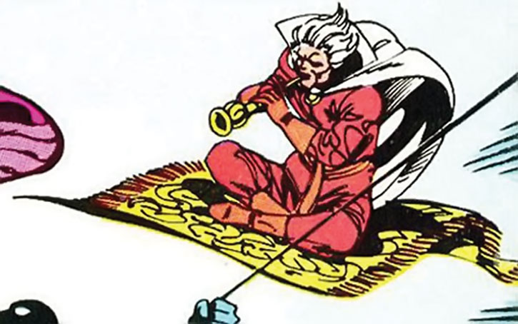 The Collector playing a flute while on a flying carpet