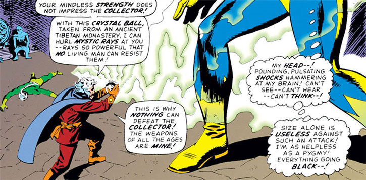 The Collector attacks Giant-Man with a Tibetan crystal ball