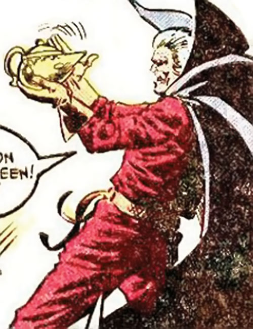 Collector of the Elders (Avengers enemy) (Marvel Comics) rubbing a magic lamp