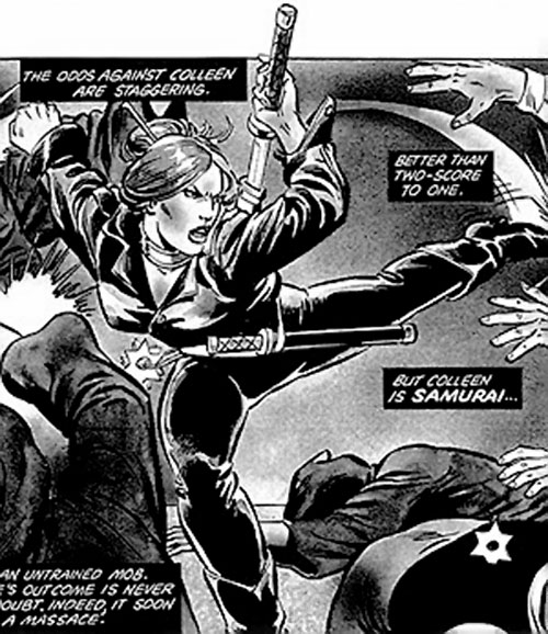 Colleen Wing (Marvel Comics) fighting, B&W art