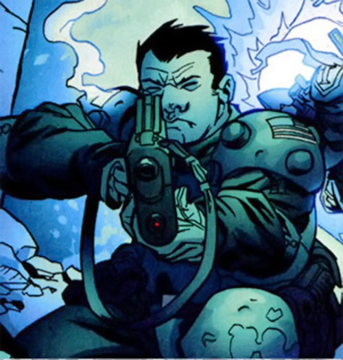 Colonel Rosetti of the Human Defense Corps (DC Comics) aiming his rifle